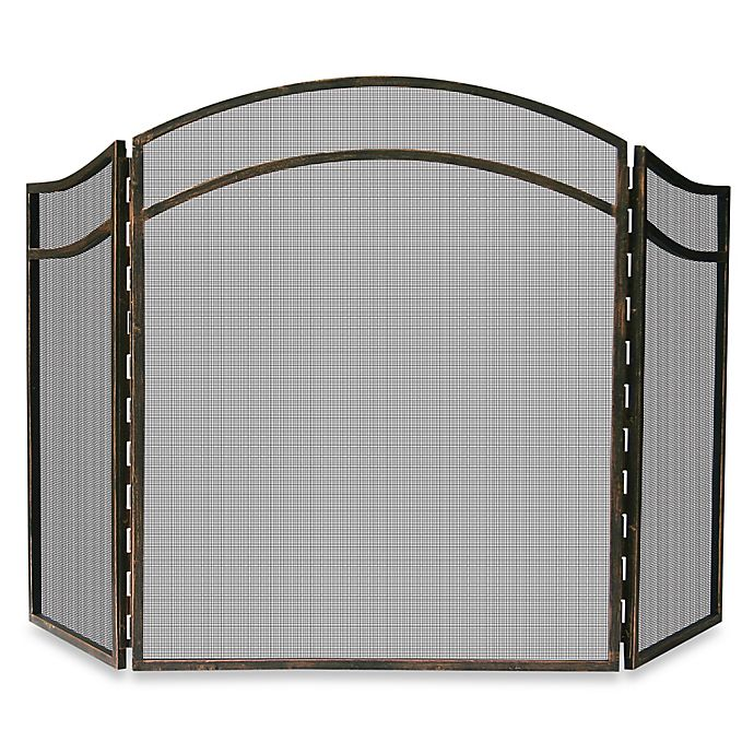 Alternate image 1 for UniFlame® 3-Fold Antique Rust Fireplace Screen