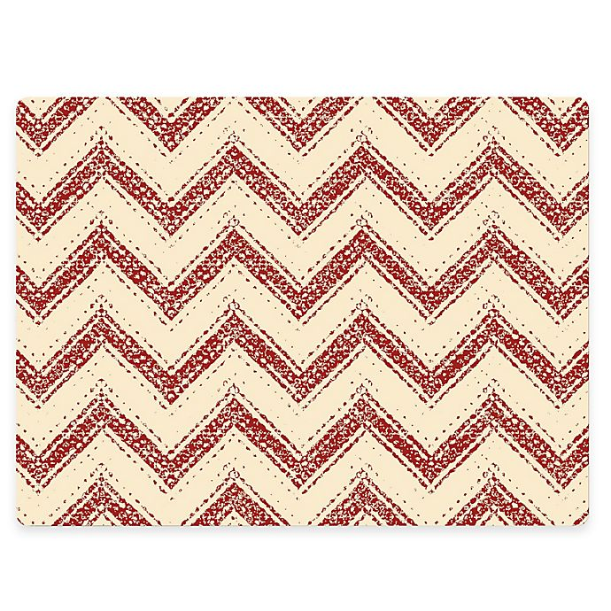 Alternate image 1 for Design House LA Chevron Striped Cork Back Placemats in Red (Set of 2)