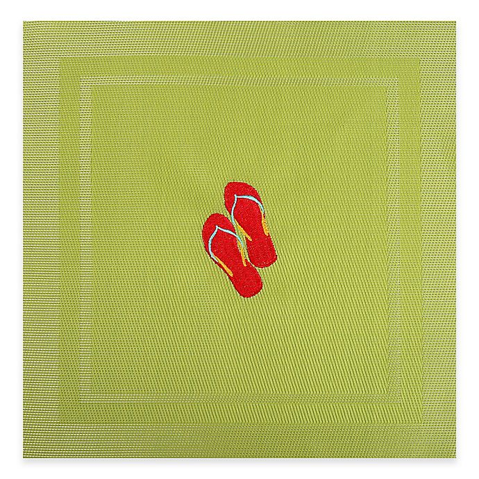 Alternate image 1 for Embroidered Flip Flop Placemat in Lime