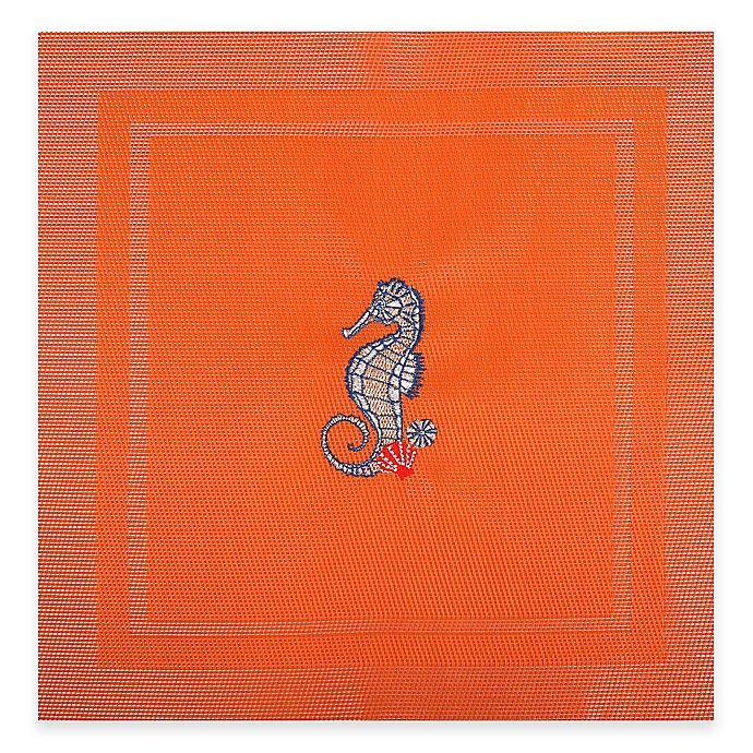Alternate image 1 for Square Sea Horse Placemat in Orange