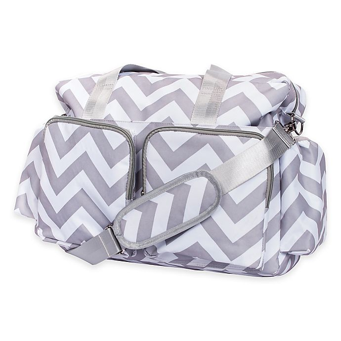Alternate image 1 for Trend Lab® Chevron Duffle Diaper Bag in Grey/White