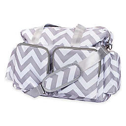 Trend Lab® Chevron Duffle Diaper Bag in Grey/White