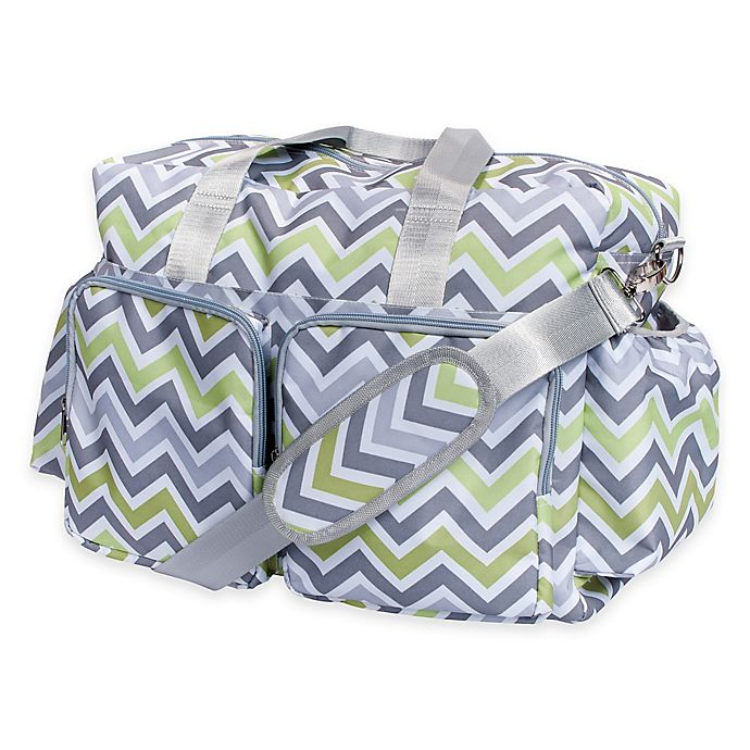 Alternate image 1 for Trend Lab® Chevron Duffle Diaper Bag in Green/Grey
