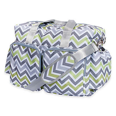 Trend Lab® Chevron Duffle Diaper Bag in Green/Grey