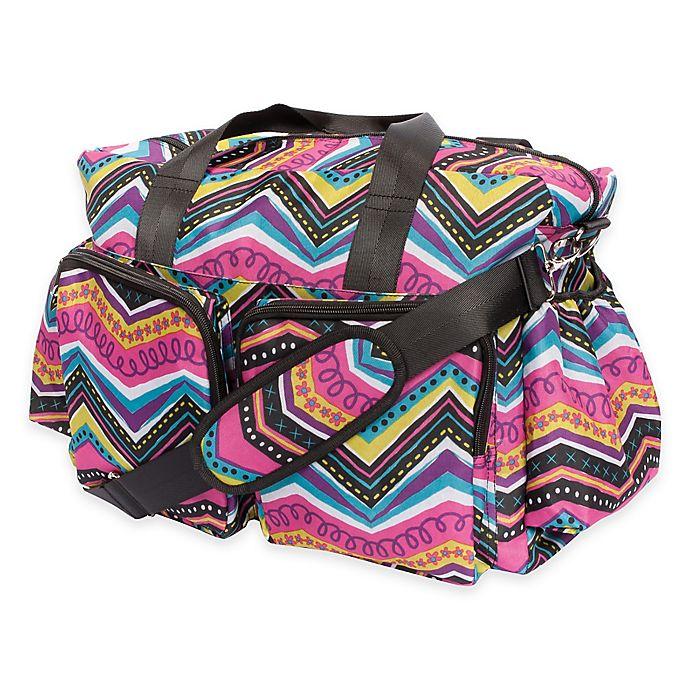 Alternate image 1 for Trend Lab® Modern Multi Chevron Duffle Diaper Bag in Multicolor