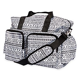 Trend Lab® Aztec Floral Duffle Diaper Bag in Black/White