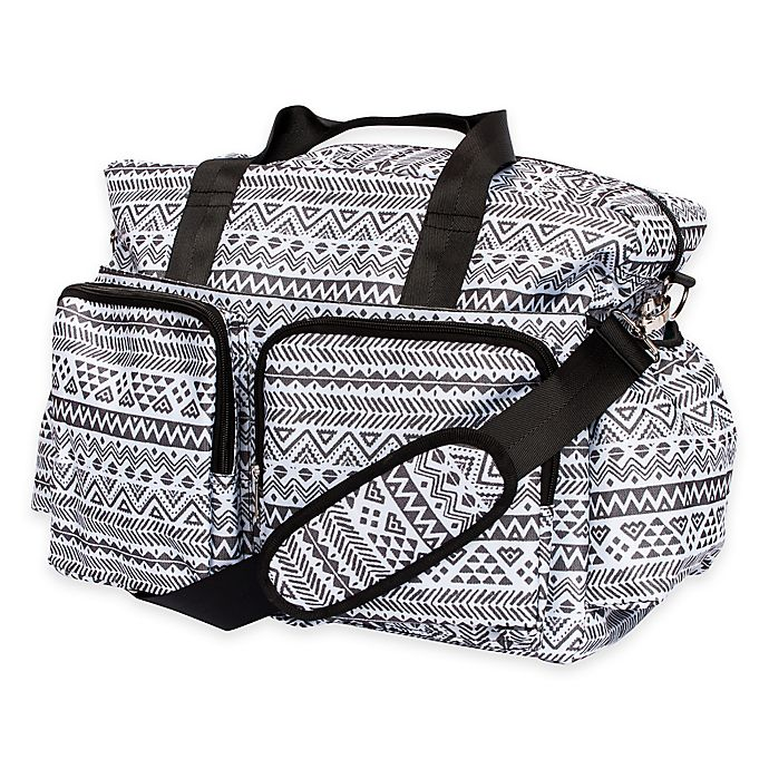 Alternate image 1 for Trend Lab® Aztec Floral Duffle Diaper Bag in Black/White