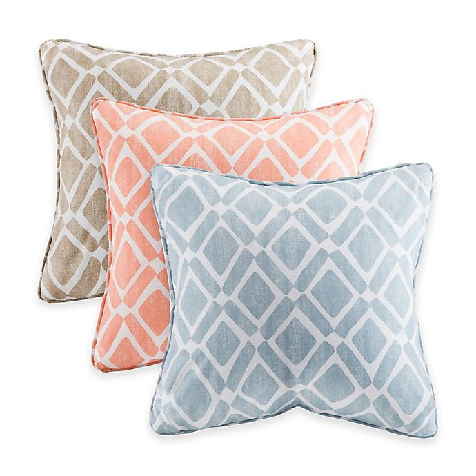 Alternate image 1 for Madison Park Delray Diamond Square Throw Pillow (Set of 2)