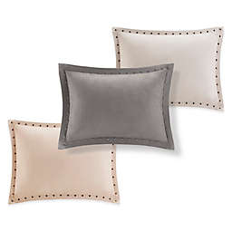 Madison Park Alban Stud Trim Microsuede Oblong Throw Pillow