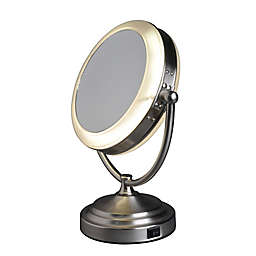 Floxite 1X/10X Fluorescent Vanity Mirror in Satin Nickel