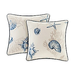 Madison Park Bayside Square Throw Pillow Pair in Blue