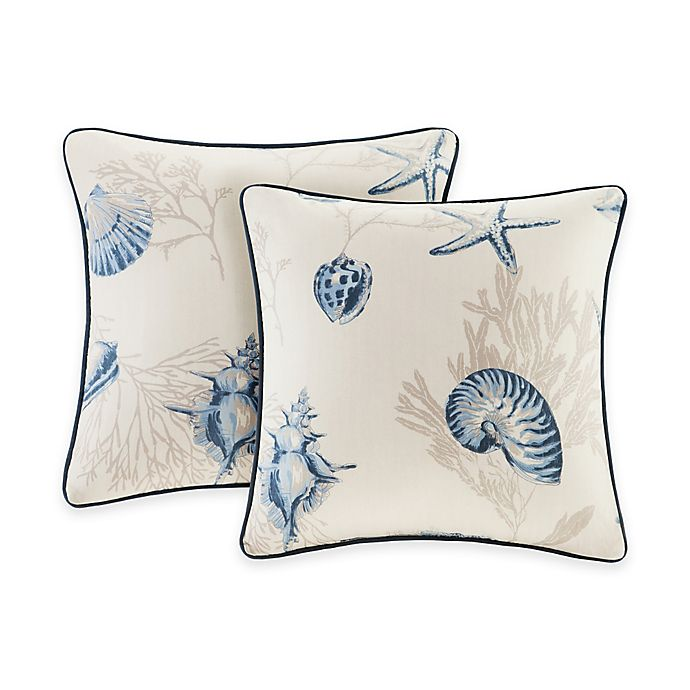Alternate image 1 for Madison Park Bayside Square Throw Pillow Pair in Blue