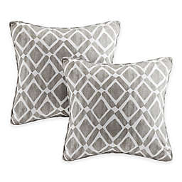 Madison Park Delray Diamond Square Throw Pillows in Grey (Set of 2)
