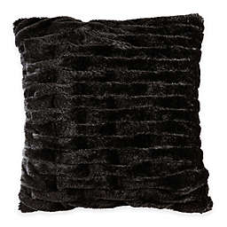 Madison Park Ruched Faux-Fur Square Throw Pillow in Black