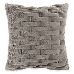 Madison Park Ruched Faux Fur 20-Inch Square Throw Pillow in Grey