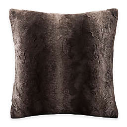 Madison Park Zuri Faux-Fur Reversible Square Throw Pillow in Chocolate