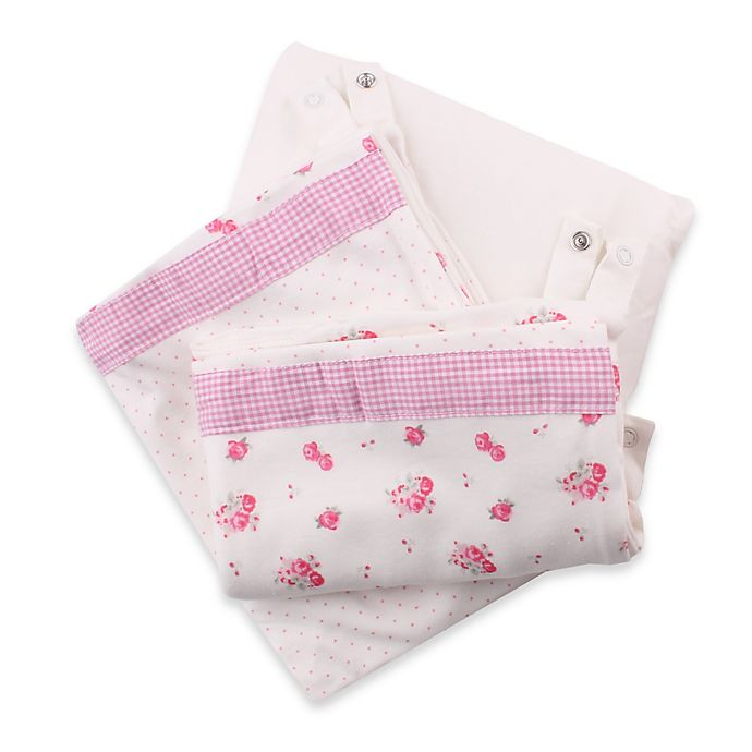 Minene 3 In 1 Rose Print Crib Sheet And Protector Set In