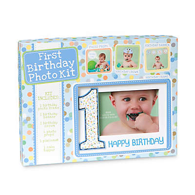 CR Gibson Baby's First Birthday Photo Prop Kit in Blue
