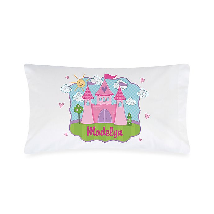 Alternate image 1 for Princess Castle Pillowcase in White/Pink