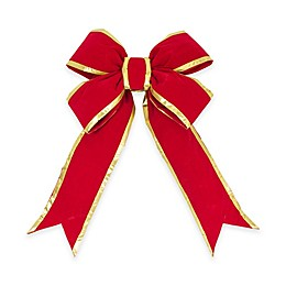 Vickerman 36-Inch x 45-Inch Velvet Bow in Red and Gold