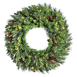 Vickerman 48-Inch Cheyenne Pine Pre-Lit Wreath with Warm White LED Lights