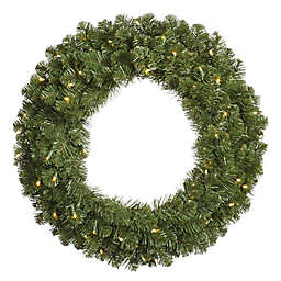 Vickerman Grand Teton 48-Inch Pre-Lit Wreath with Warm White LED Lights