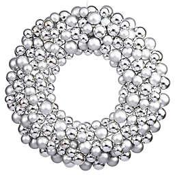 Vickerman 24-Inch Shiny Silver Ornament Wreath