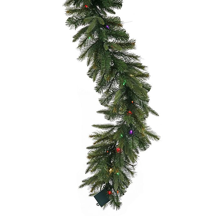 Alternate image 1 for Vickerman 9-Foot Cashmere Pine 14-Inch Pre-Lit Garland with Multicolor Lights