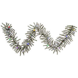 Vickerman Flocked London Fir 9 Foot Pre Lit Garland With Multicolor Led And Mini