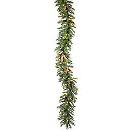 Vickerman 9-Foot Cheyenne Pine Pre-Lit Garland in Green with Warm White LED Lights
