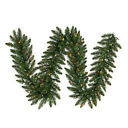 Vickerman 9-Foot x 14-Foot Camdon Fir Garland in Green with Multicolor LED Lights
