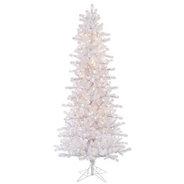 Vickerman 7.5-Foot Crystal Dura-Lit Pre-Lit Slim Christmas Tree in White with Clear Lights