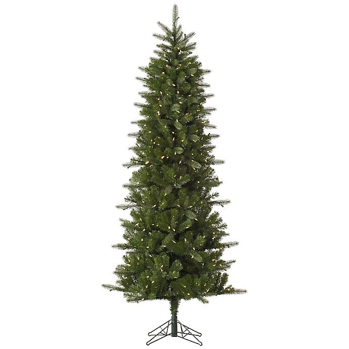 d74856eea7cf Vickerman Carolina Pencil Spruce Pre-Lit Christmas Tree with Warm White LED  Lights