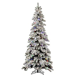 Vickerman 5-Foot Flocked Kodiak Spruce Pre-Lit Christmas Tree with Multicolor LED Lights