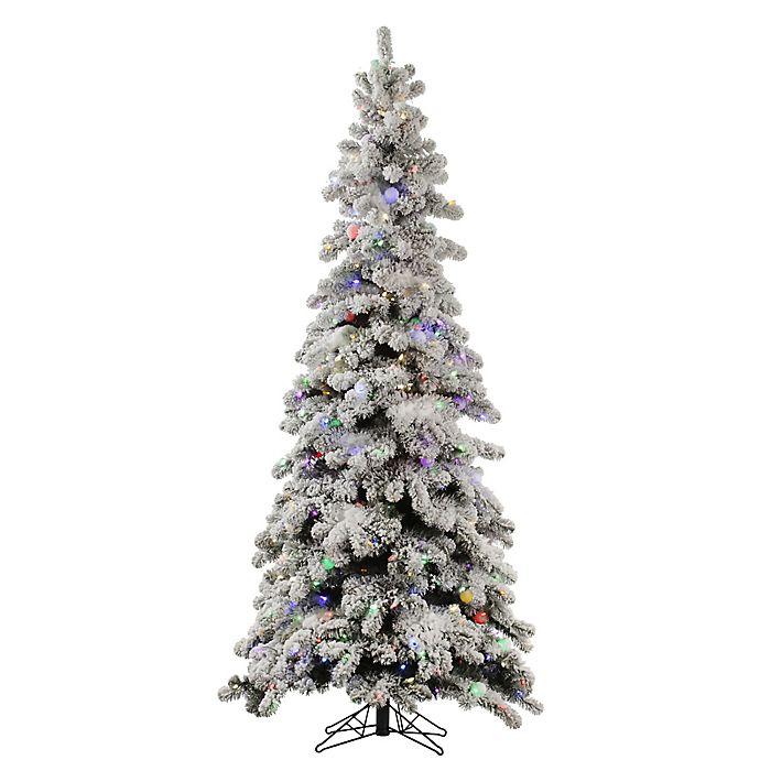 Alternate image 1 for Vickerman 5-Foot Flocked Kodiak Spruce Pre-Lit Christmas Tree with Multicolor LED Lights