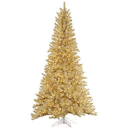 Vickerman 7.5-Foot Tinsel Pre-Lit Christmas Tree in White Gold with Clear Lights