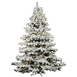 Vickerman Flocked Alaskan Pre-Lit Christmas Tree with Warm White Lights