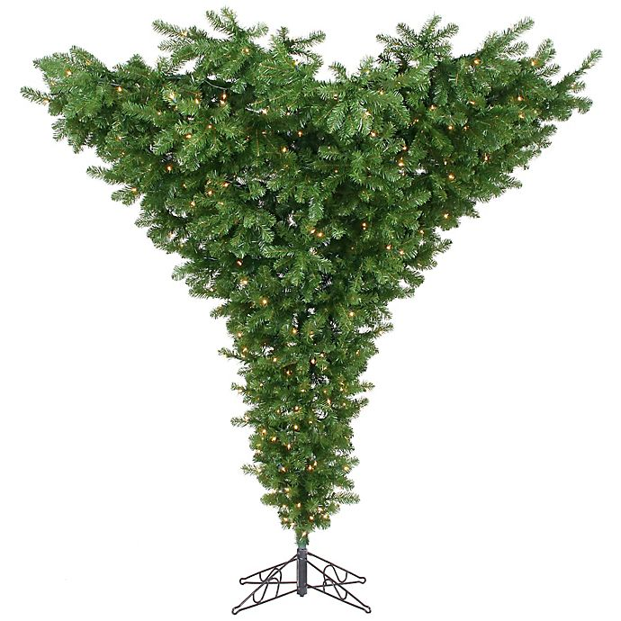 Vickerman 7.5-Foot Green Pre-Lit Upside Down Christmas Tree with 650 Clear Lights | Bed Bath ...