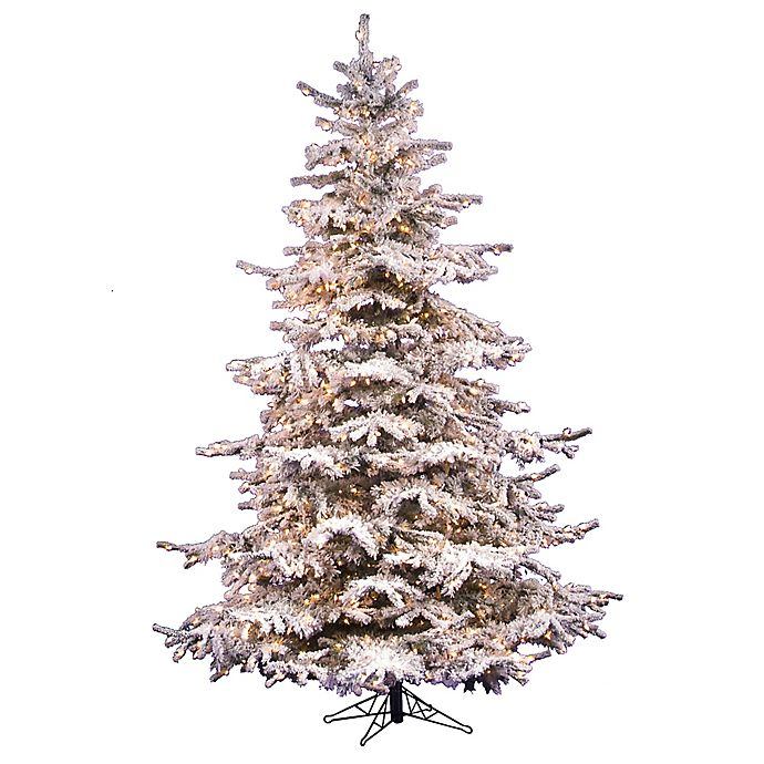 5e6c4d8ae575 Vickerman Flocked Sierra Fir Pre-Lit Christmas Tree with Clear Lights