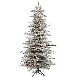 Vickerman 7.5-Foot Flocked Slim Sierra Dura-Lit Pre-Lit Christmas Tree with Clear Lights
