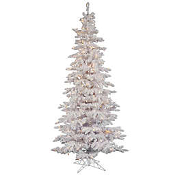 Vickerman 6-Foot Flocked Slim Dura-Lit Pre-Lit Christmas Tree in White with Clear Lights