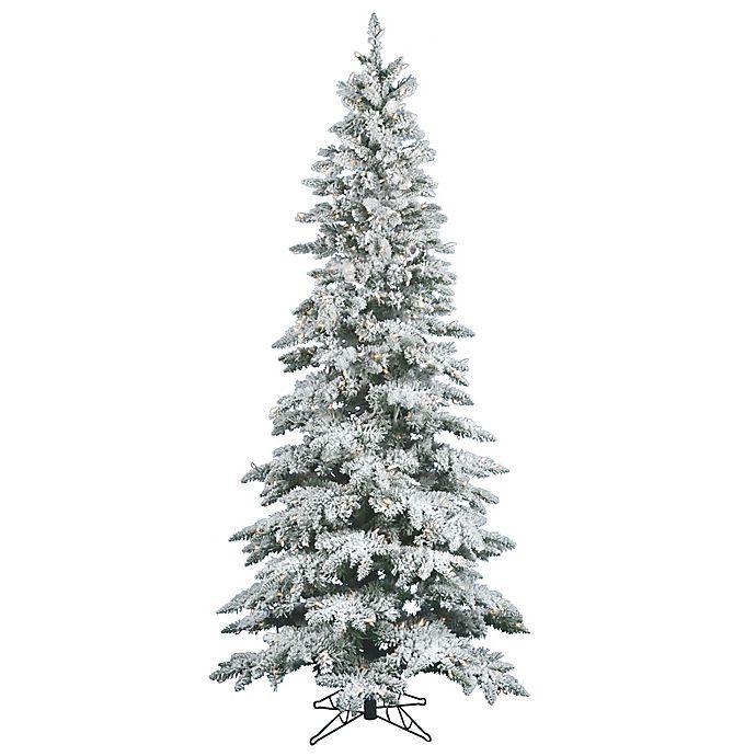 Vickerman 9-Foot Slim Utica Fir Pre-Lit Flocked Christmas Tree with Warm  White LED Lights - Vickerman 9-Foot Slim Utica Fir Pre-Lit Flocked Christmas Tree With