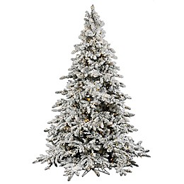Vickerman Utica Fir Pre-Lit Flocked Christmas Tree with Warm White LED Lights