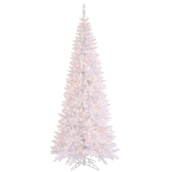 White Fir Christmas Tree: Vickerman White Slim Fir Pre-Lit Christmas Tree With Clear