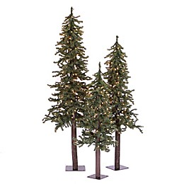 Vickerman Natural Alpine 3-Pack Small Artificial Christmas Tree Set
