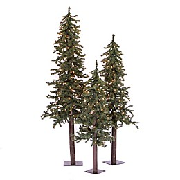 Vickerman Natural Alpine 3-Pack Artificial Christmas Tree Set