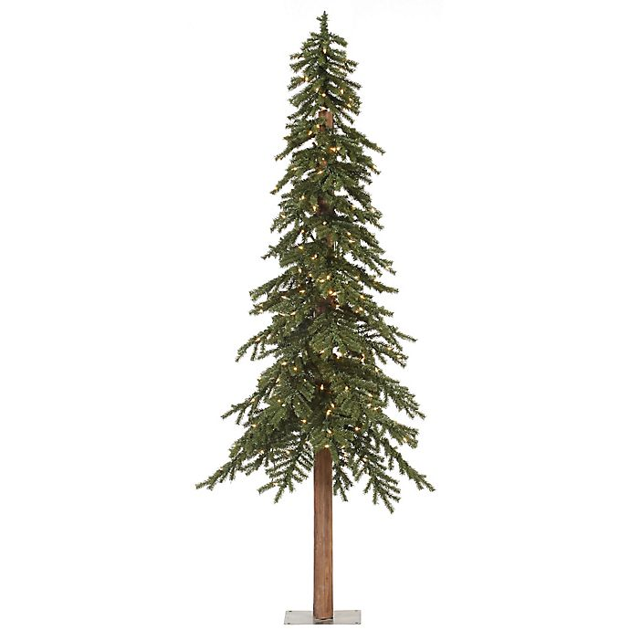 Vickerman Natural Alpine Pre-Lit Slim Christmas Tree with ...