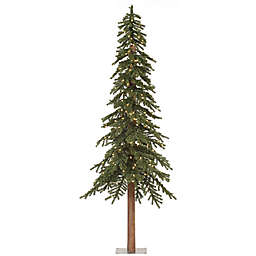 Vickerman Natural Alpine Pre-Lit Slim Christmas Tree with Clear Mini Lights