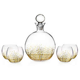 Fitz and Floyd® Luster 5-Piece Round Whiskey Set in Gold