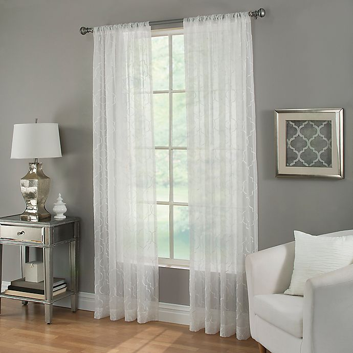 Alternate image 1 for Kendall Sheer Rod Pocket Window Curtain Panel in White